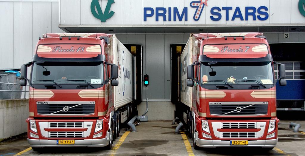 twee vrachtwagens Transport Van der Veld vrachtwagens bij een laaddock